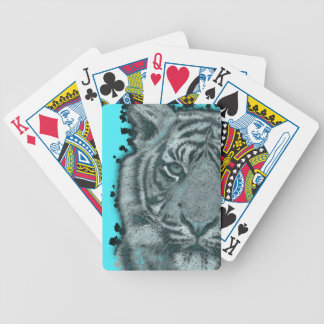 Turquoise Grunge Blk&Wht Tiger Bicycle Playing Cards