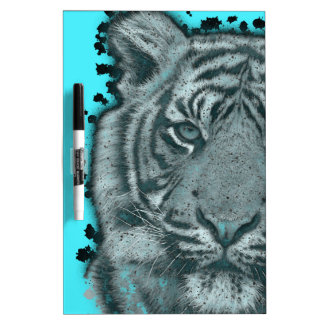 Turquoise Grunge Blk&Wht Tiger Dry Erase Board