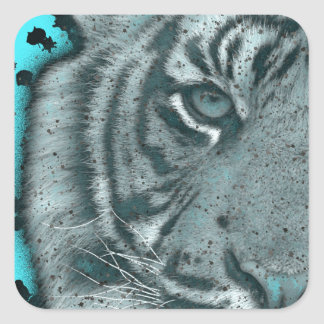 Turquoise Grunge Blk&Wht Tiger Square Sticker