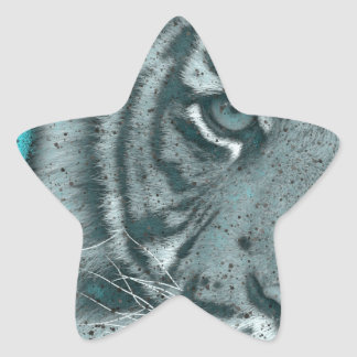 Turquoise Grunge Blk&Wht Tiger Star Sticker