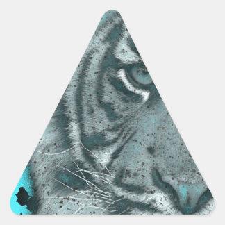 Turquoise Grunge Blk&Wht Tiger Triangle Sticker
