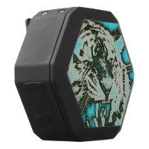 Turquoise Grunge Growling Tiger Black Bluetooth Speaker