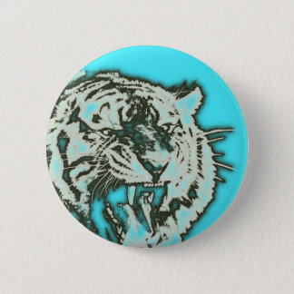 Turquoise Grunge Growling Tiger Button