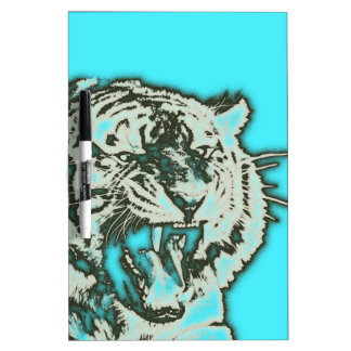 Turquoise Grunge Growling Tiger Dry-Erase Board