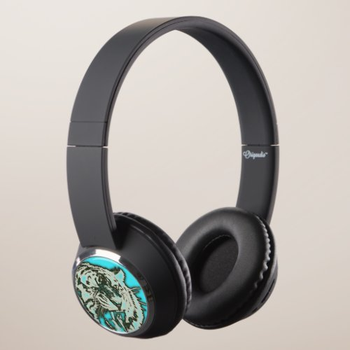 Turquoise Grunge Growling Tiger Headphones