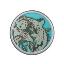 Turquoise Grunge Growling Tiger Speaker