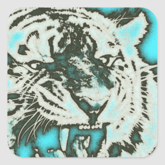 Turquoise Grunge Growling Tiger Square Sticker