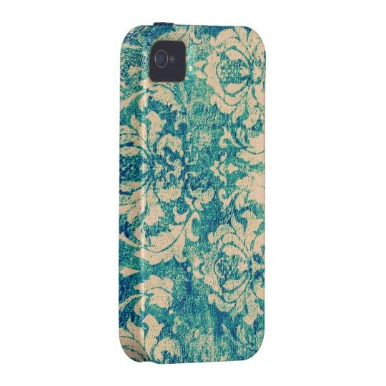 Turquoise Grunge Vintage Damask IV iPhone 4 Case