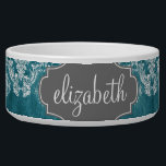 """Turquoise Grungy Damask Pattern Custom Text Bowl<br><div class=""""desc"""">A vintage pattern with a chalkboard and lace design. Look closely to the flowers and leaves.A trendy design with jewel tone colors and elegance. Items are easier to customize when you replace all text and photos first. If your art still needs to be adjusted, click on the Customize This button....</div>"""