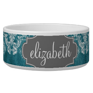 Turquoise Grungy Damask Pattern Custom Text Bowl