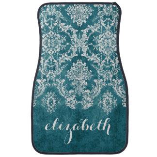 Turquoise Grungy Damask Pattern Custom Text Car Mat