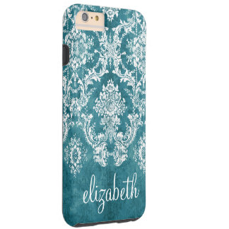 Turquoise Grungy Damask Pattern Custom Text Tough iPhone 6 Plus Case
