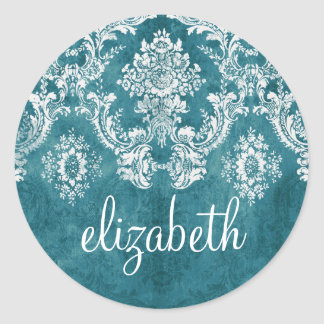 Turquoise Grungy Damask Pattern Custom Text Classic Round Sticker