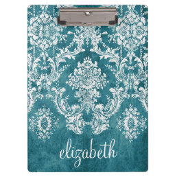 Turquoise Grungy Damask Pattern Custom Text Clipboard
