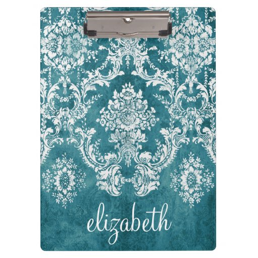 Turquoise Grungy Damask Pattern Custom Text Clipboards
