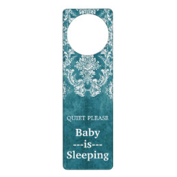 Turquoise Grungy Damask Pattern Custom Text Door Hanger
