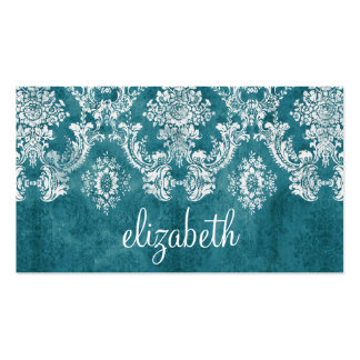 Turquoise Grungy Damask Pattern Custom Text Double-Sided Standard Business Cards (Pack Of 100)