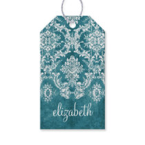 Turquoise Grungy Damask Pattern Custom Text Gift Tags
