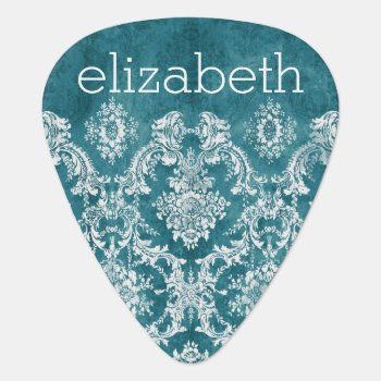 Turquoise Grungy Damask Pattern Custom Text Guitar Pick by MarshEnterprises at Zazzle