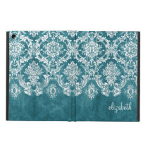 Turquoise Grungy Damask Pattern Custom Text iPad Air Cover