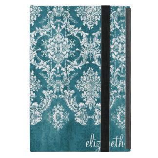 Turquoise Grungy Damask Pattern Custom Text iPad Mini Covers