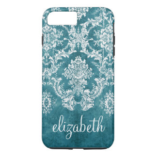 Turquoise Grungy Damask Pattern Custom Text iPhone 7 Plus Case