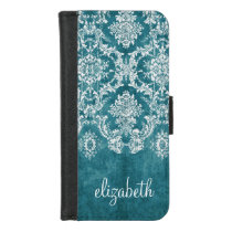 Turquoise Grungy Damask Pattern Custom Text iPhone 8/7 Wallet Case
