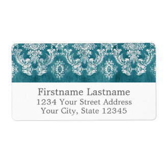 Turquoise Grungy Damask Pattern Custom Text Personalized Shipping Label
