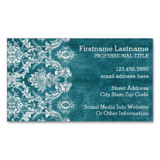 Turquoise Grungy Damask Pattern Custom Text Magnetic Business Cards (Pack Of 25)