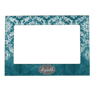 Turquoise Grungy Damask Pattern Custom Text Magnetic Frame