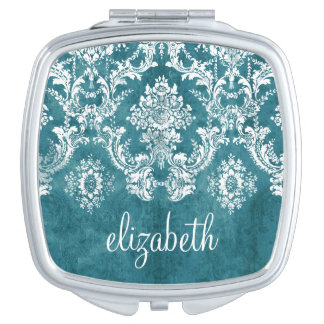 Turquoise Grungy Damask Pattern Custom Text Makeup Mirror