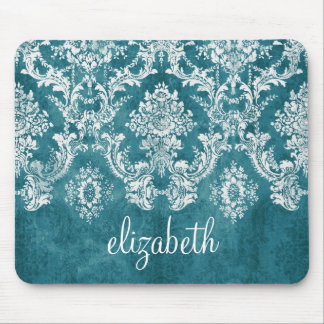 Turquoise Grungy Damask Pattern Custom Text Mouse Pad