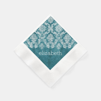 Turquoise Grungy Damask Pattern Custom Text Paper Napkin