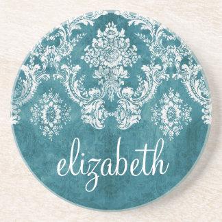 Turquoise Grungy Damask Pattern Custom Text Sandstone Coaster