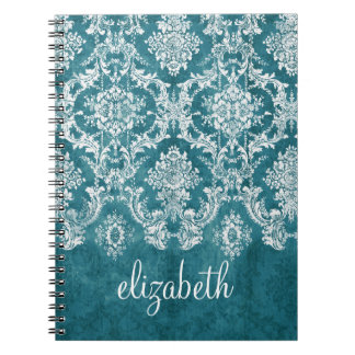 Turquoise Grungy Damask Pattern Custom Text Spiral Notebook