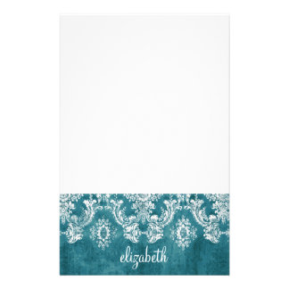 Turquoise Grungy Damask Pattern Custom Text Stationery