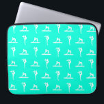 "Turquoise Gymnastics Laptop Sleeve<br><div class=""desc"">Laptop sleeve with silhouettes of female gymnasts in action. Customize it with a name for that personal touch.  This design is available in different colors and on other products at my store.</div>"