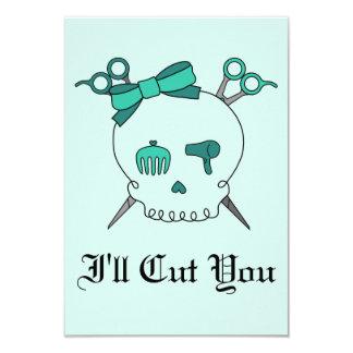 Turquoise Hair Accessory Skull -Scissor Crossbones Card