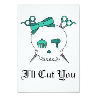 Turquoise Hair Accessory Skull -Scissor Crossbones Invitation