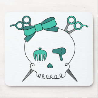 Turquoise Hair Accessory Skull -Scissor Crossbones Mouse Pad