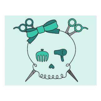 Turquoise Hair Accessory Skull -Scissor Crossbones Post Cards