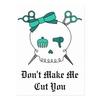 Turquoise Hair Accessory Skull -Scissor Crossbones Postcard