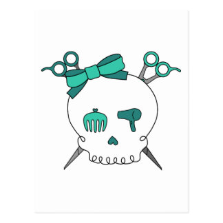 Turquoise Hair Accessory Skull -Scissor Crossbones Postcards