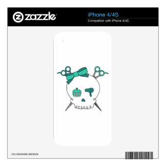 Turquoise Hair Accessory Skull -Scissor Crossbones Decal For The iPhone 4