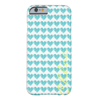 turquoise hand drawn hearts with name barely there iPhone 6 case