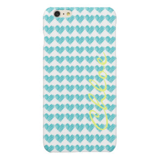 turquoise hand drawn hearts with name glossy iPhone 6 plus case