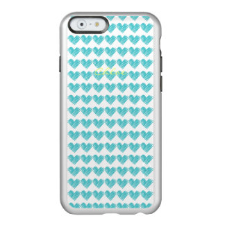 turquoise hand drawn hearts with name incipio feather shine iPhone 6 case
