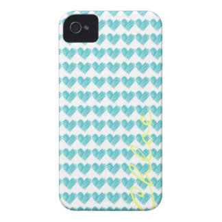turquoise hand drawn hearts with name iPhone 4 Case-Mate case