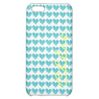 turquoise hand drawn hearts with name iPhone 5C case