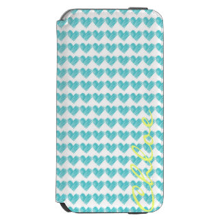 turquoise hand drawn hearts with name iPhone 6/6s wallet case